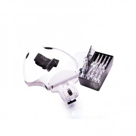 Professional head magnifying glass with light